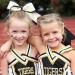 Madeline Martin and Anabella Dakas were part of the DeKalb cheerleading squad Saturday.