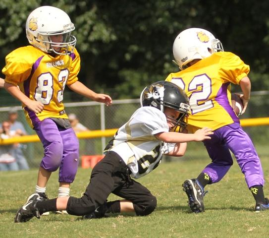 "Dakota ""Killer"" Allen makes a tackle in last Saturday's scrimmage against Fentress County."