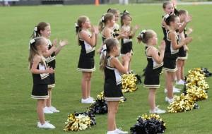 The DeKalb Peewee Cheerleaders helped keep the crowd fired up in last Saturday's game.