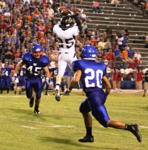 Tiger wide receiver, Dustin Warner making a circus catch in the Tigers' victory at Warren County last Friday night.