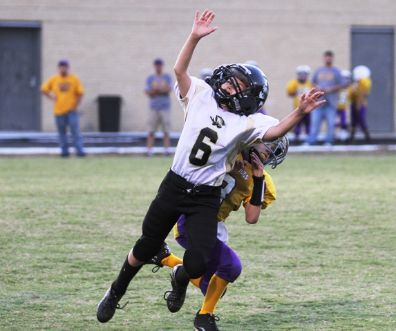 Levi Driver going up for a pass in the Tigers' game in Jamestown Saturday.