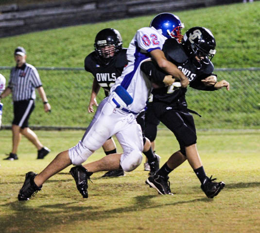 Zach Atnip makes a huge tackle Thursday night against Smith County.