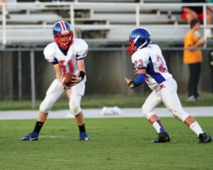 Tyler Cantrell and Tyler Bundy in action in Tuesday night's game in Hartsville.
