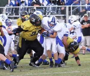 Eli Gill and the Black and Gold Defense held Livingston Academy to less than 300 yards in DeKalb's victory over the Wildcats Friday night.