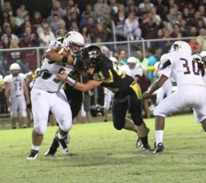 Hunter Stone takes on Warrior lineman, Blake Newman in the Tiger's game against White County.