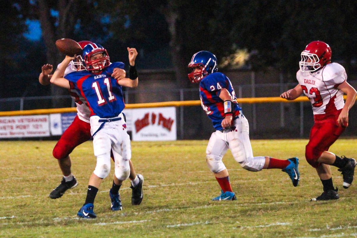 Tyler Cantrell was harassed all game long, He was 3 of 7 for 50 yards in Middle's loss to Westmoreland.