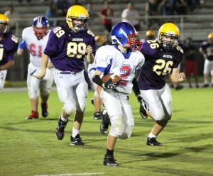 Luke Bryant caught a 15 yard pass in the Saints' contest vs. Satterfield Middle School.