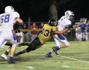 Rickey Spare came up with a huge sack to seal the Tigers' victory against Livingston Academy.