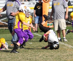 Ryan Thompson giving his all for the Tigers Saturday.