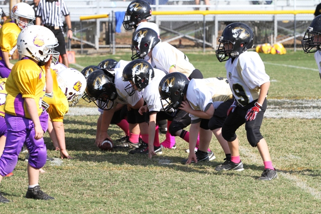 The DeKalb County Offensive line in action.