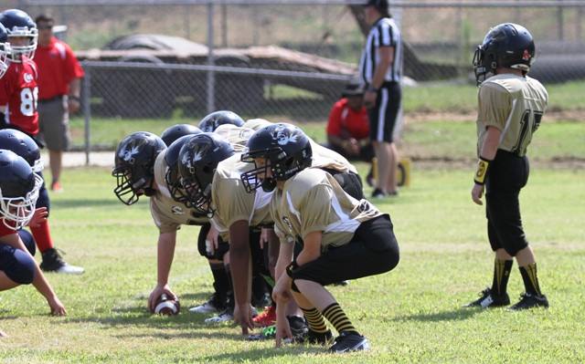 The mighty Junior Tiger Offensive Line