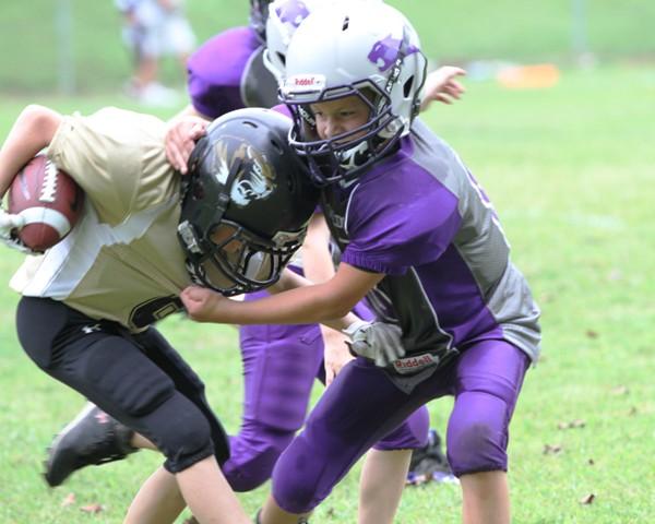 Mason Winter lowers his shoulder against Monterey Sunday