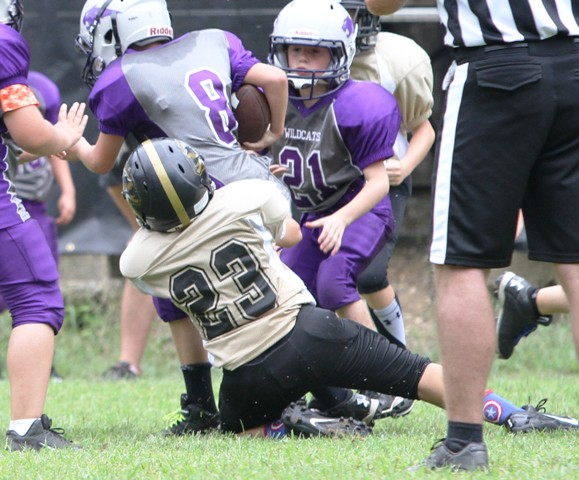 Ty Panker making one of his 4 tackles on the day.