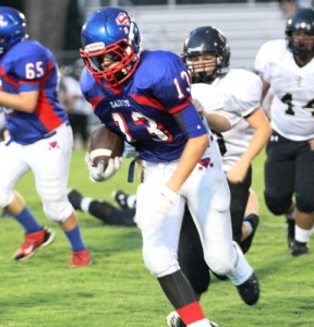 Tanner Poss was huge for the Saints Thursday night, scoring 3 touchdowns in DeKalb's game vs. Smith County.