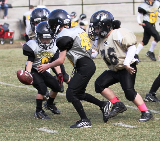 Luke Midgett had a forced fumble in Saturday's game against Upperman at Carthage.