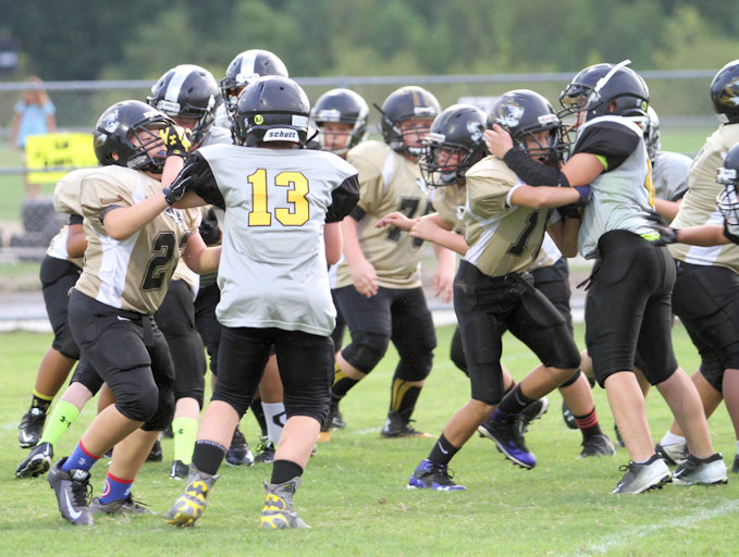 The TIger offensive line opened holes all day for DeKalb's tailbacks to run through.