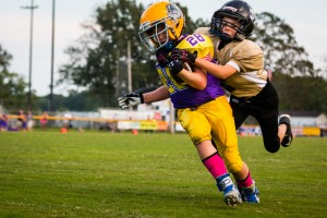 Mason Winter holds on to a Bulldog wideout Saturday.