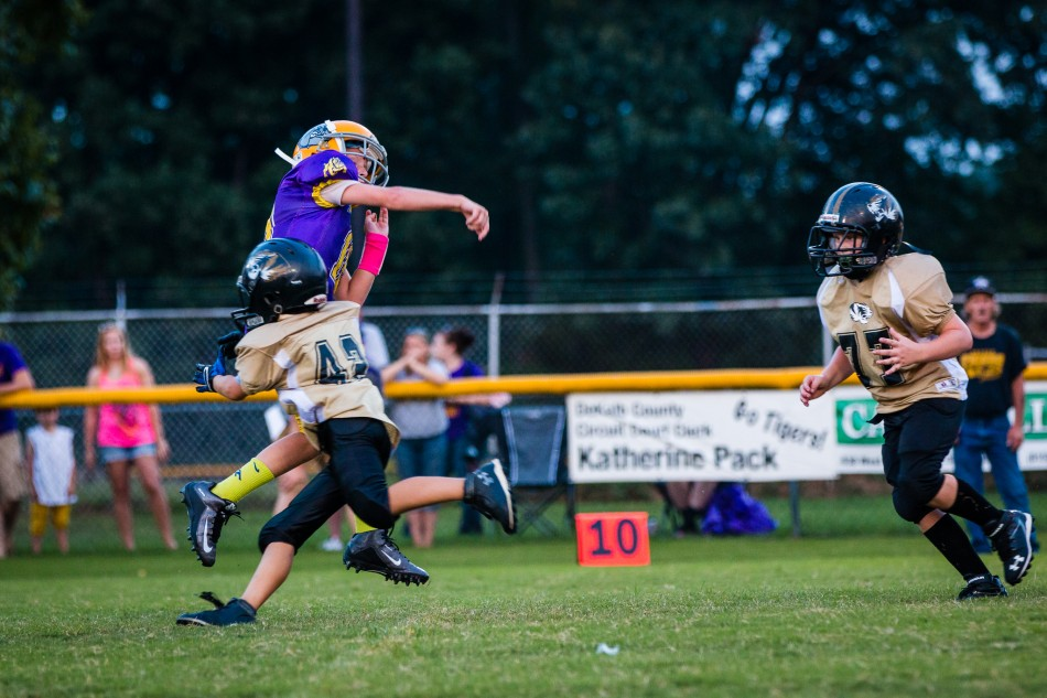Gabe Hollingsworth makes a big hit against Fentress County on September 5th